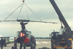Good old Airfix! Assembling a Jaguar prior to display, the Jag arrived by road. (Without tax and Mot) Crane skills were supplied courtesy of Mr Pat Yates of Airfield MT